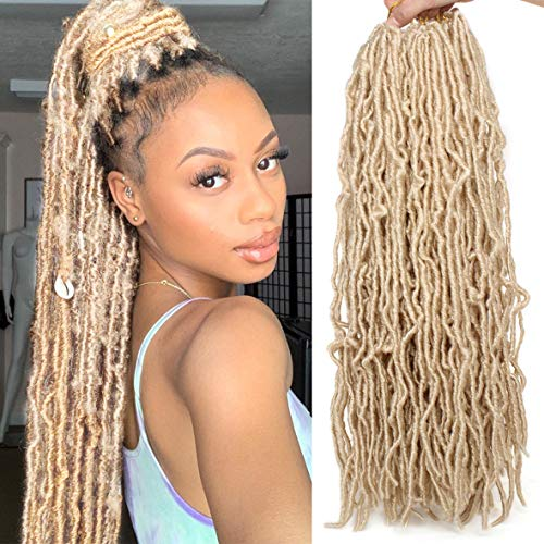 24 Inch Blond Nu Faux Locs Hair 21Strands/Pack Synthetic Natural Wavy Crochet Hair Pre-Looped Goddess Soft Locs Hair Extensions Dreadlocs Hair for Women African Roots #613