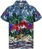 V.H.O. Funky Hawaiian Shirt, Parrot, Grigio, M