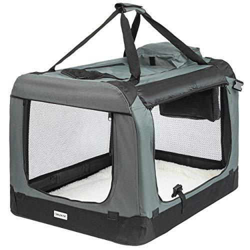 ONVAYA® Faltbare Transportbox für Hunde & Katzen | M - XXL | Faltbare Hundebox oder Katzenbox für Auto & Zuhause | Farbe grau schwarz (L)