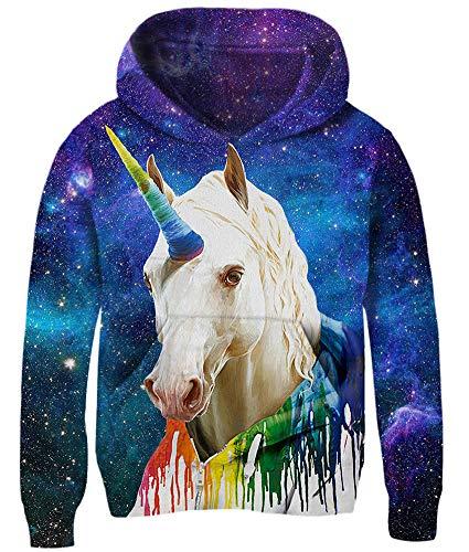 Loveternal Unicorn Pullover für Jungen Mädchen 3D Druck Hoodie Einhorn Kapuzenpullover 5-6 Jahre Langarm Casual Sweatshirt für Kinder Teenager M