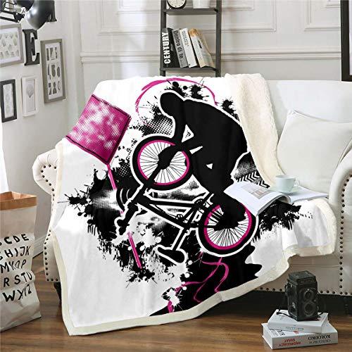 Mountain Bike Sherpa Blanket Motocross Racer Extreme Sport Fleece Throw Blanket for Kids Boys Girls 3D Dirt Bike Decor Plush Blanket Black Tie Dye Fuzzy Blanket for Sofa Bed,Double 60x79 Inch