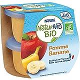 NESTLÉ Naturnes BIO - Purée De Fruits Bébé - Pomme Banane - Dès 4/6mois - 2x115g - Pack de 12 (24 Compotes)