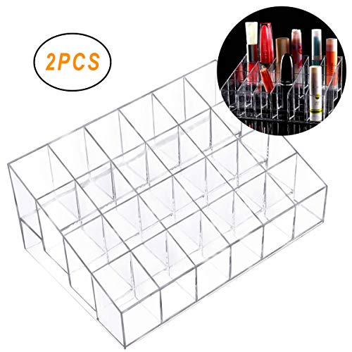 Osuter 2PCS Support de Rouge à Lèvres Plastique Transparent Boîte Rouge à Lèvres pour Cosmétique Bouteille à Ongles(24 Grille)