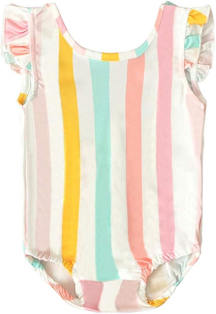 Toddler Baby Girl Clothes Sleeveless Backless Rainbow Striped One Piece Swimsuit Bathing Suit Swimwear Beach Bikini
