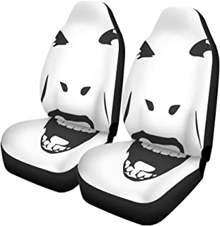 Pinbeam Car Seat Covers Demonic Ugly Face Devil Scream Character Demon Monster Screaming Set of 2 Auto Accessories Protectors Car Decor Universal Fit for Car Truck SUV