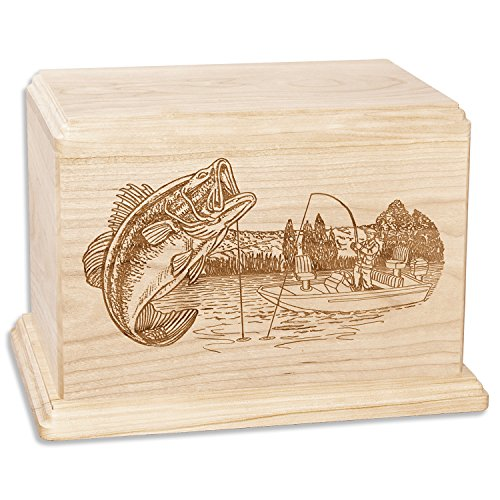 Bass Boat Fishing Memorial Cremation Urn Made in The USA from Premium Solid Wood & Laser Carved with Bass Fisherman (Companion Urn (400 Cubic inches), Maple)
