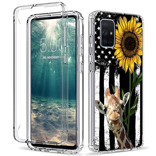 Case for Samsung Galaxy A71 4G, Shockproof Clear Dual Layer Hybrid Protection Hard PC Bumper & Soft TPU Shell Cover Protective Phone Case for Samsung A71 4G Women/Men, Sunflower Giraffe