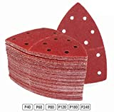 Prio-Triangle Sanding Sheets│ 120 Pieces │ 11-Holes │ 105 x 152 mm │ Mixpack (20 x Grain 40/60/80/120/180/240 Each) │ for <span class='highlight'>Multi</span>-<span class='highlight'>Sander</span> <span class='highlight'>Bosch</span> Prio Ventaro │ Triangle Grinding-Pads │ Sanding-Paper