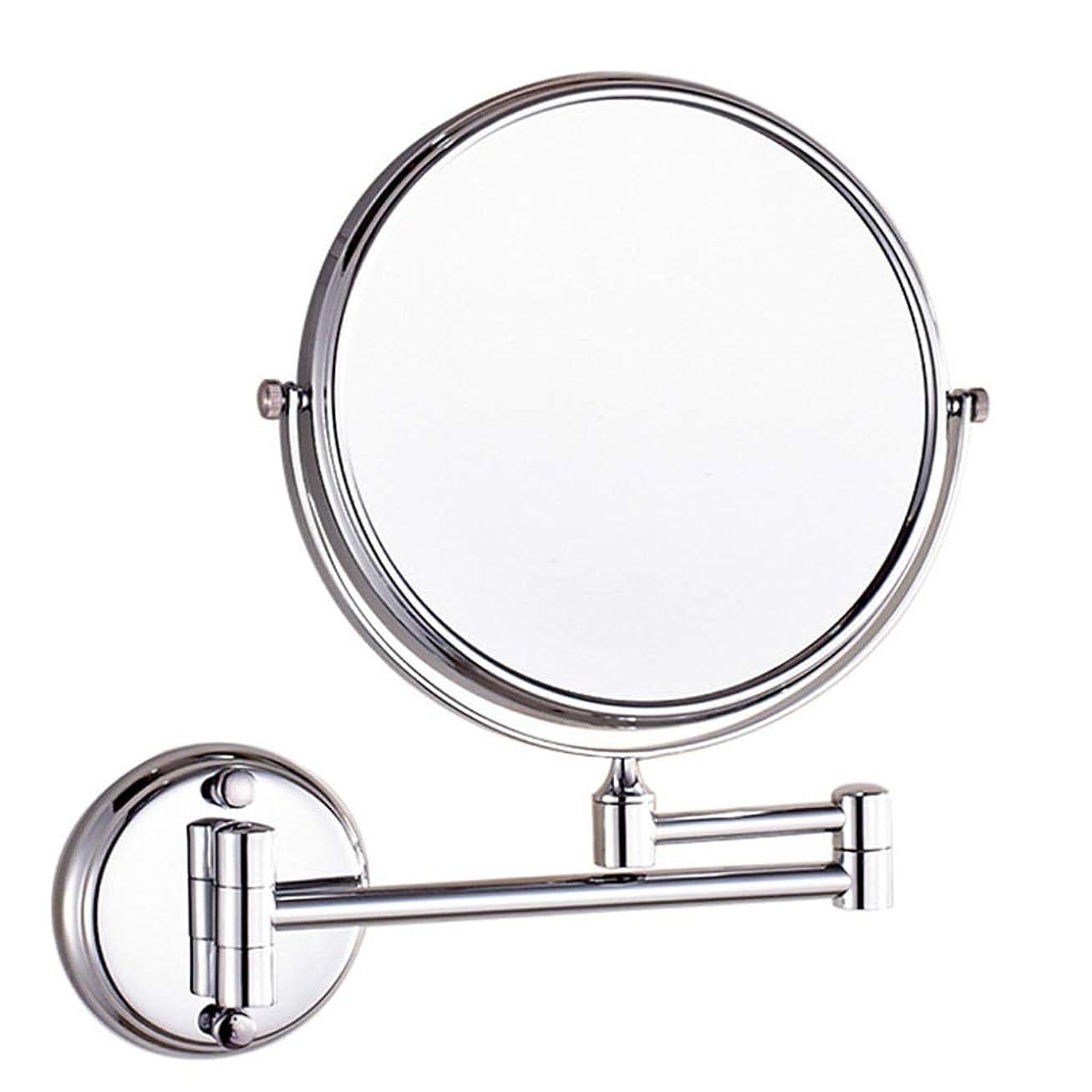 前投薬月爆発物HUYYA シェービングミラー バスルームメイクアップミラー 壁付、バニティミラー 3 倍拡大鏡 化粧鏡 丸め 折りたたみ 寝室や浴室に適しています,Silver_6inch