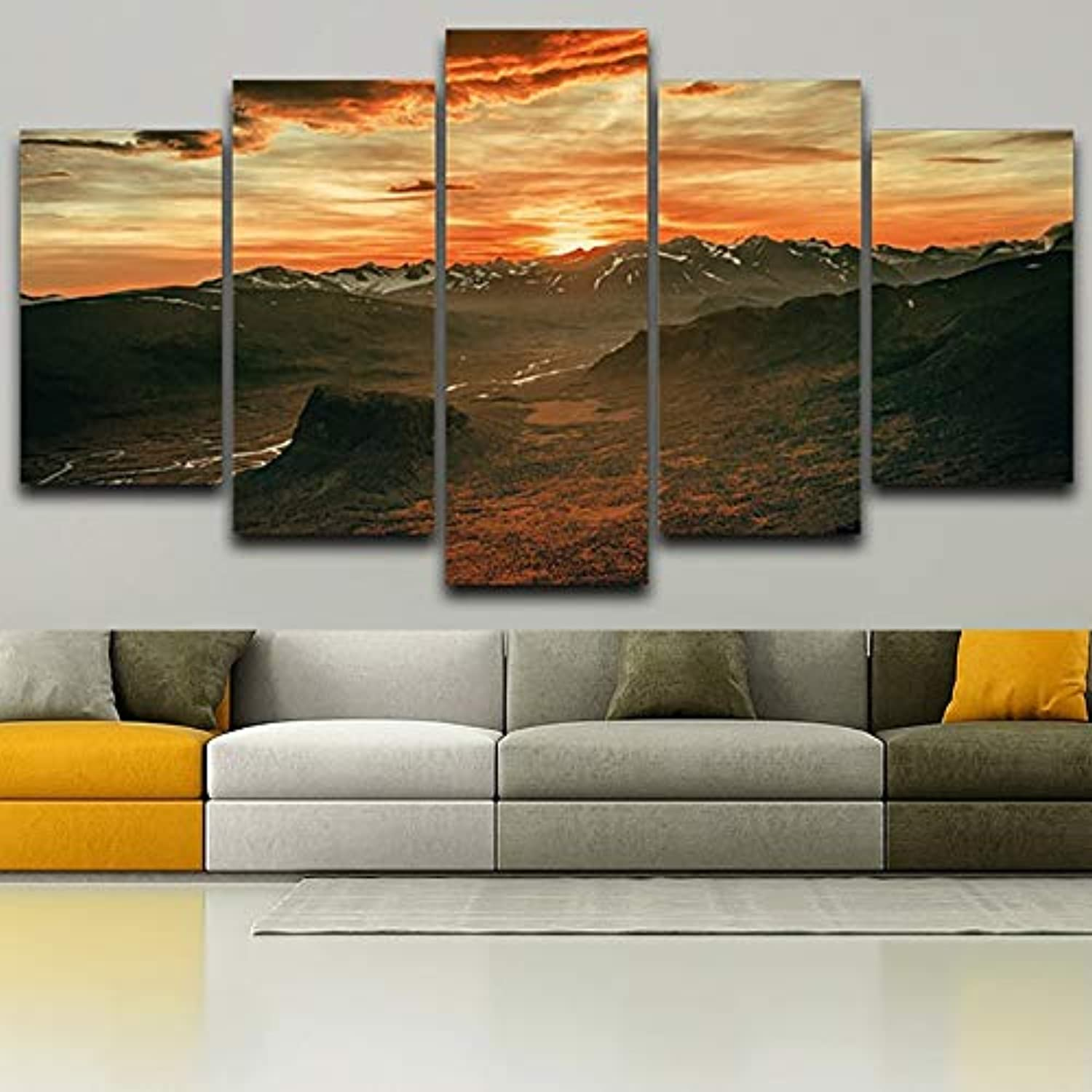Wall Art Picture Home Decoration HD Printed Posters 5 Panel Mountains Sunset Landscape Modern Framework Living Room Painting