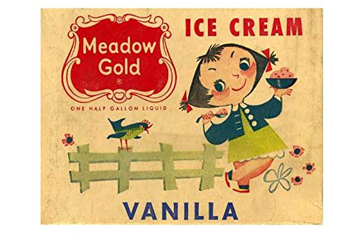Calamita da frigo in acrilico con gelato alla vaniglia, stile vintage shabby chic o può essere utilizzata una placca.
