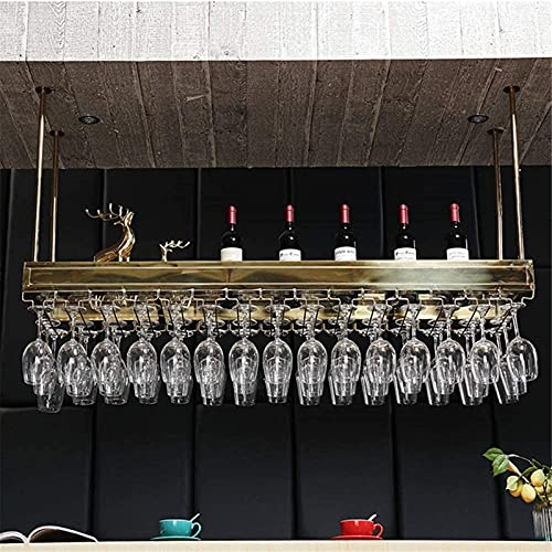 Soporte para Copas de Vino Colgante para botellero |Material de Acero Inoxidable |Porta Botellas de Vino Industrial |Estante de Vidrio Templado Bar y hogar - Titanio Color Dorado DF