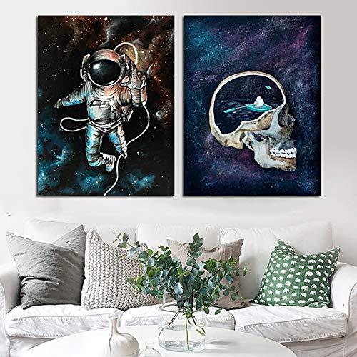 ganlanshu Abstrakte Raumastronautendekoration Ölgemälde Leinwandplakat Wohnzimmerplakat und Druck,Rahmenlose Malerei,30X45cmx2