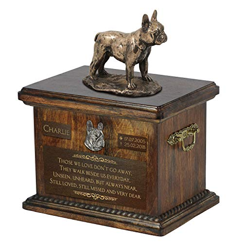 French Bulldog, Urn for Dog Ashes Memorial with Statue, Pet's Name and Quote - ArtDog Personalized