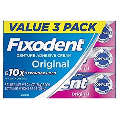 Fixodent Complete Original Denture Adhesive Cream, 2.4 Ounce, Pack of 3