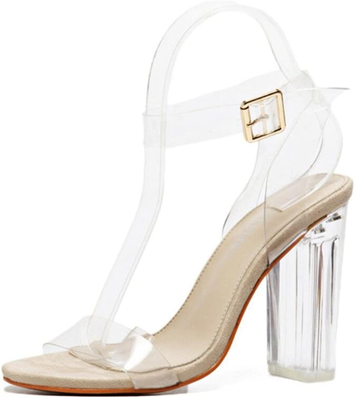 LINYI Women Catwalk Crystal shoes Chunky Heel Transparent Open Toe Summer New High Heels Fashion Sandals