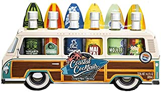 Thoughtfully Gifts, Woody Bus Summer Cocktail Mixers, Includes Tropical Flavors: Margarita, Pina Colada, Mai Tai, Mojito, Blue Hawaiian, and Caipirinha, 2.3 oz Each, Set of 6