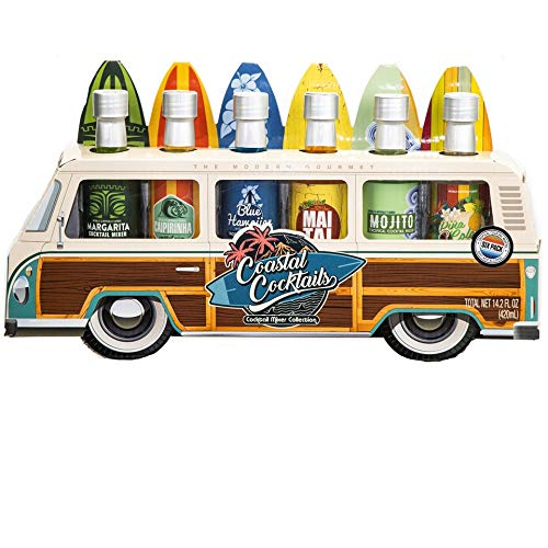 Thoughtfully Gifts, Woody Bus Summer Cocktail Mixers, Includes Tropical Flavors: Margarita, Pina Colada, Mai Tai, Mojito, Blue Hawaiian, and Caipirinha, 2.3 oz Each, Set of 6 (Contains NO Alcohol)