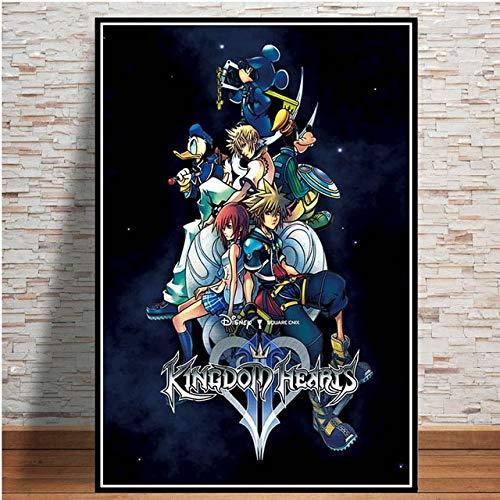 Puzzle 1000 piezas Kingdom Hearts Video Game Popular Anime Cartoon Art Imagen puzzle 1000 piezas paisajes Rompecabezas de juguete de descompresión intelectual educativo divert50x75cm(20x30inch)