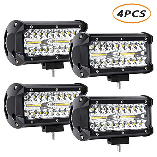 4 x 240W 7inch LED Light Bar, YEEGO 24000lm LED Spot Flood Combo Beam Off Road Light Waterproof Work Lights for UTV ATV SUV Jeep Truck Tractor Pickup Boat 2 Years Warranty (4Pack-240W Combo Light)