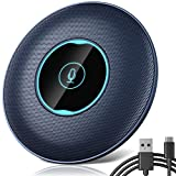 Allgetc® USB Micrófono de Conferencia, Omnidireccional de 360 °, Plug & Play, Botón de Silencio, Micrófono de Computadora en Línea para PC, Chat de Skype