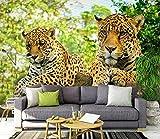 Zjfong Papel Tapiz De Leopardo Grande 3D Mural Adhesivo Extraíble Decoración De Interiores Papel Tapiz Mural-350X250Cm