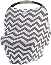 Itzy Ritzy 4-in-1 Nursing Cover, Car Seat Cover, Shopping Cart Cover and Infinity Scarf – Breathable, Multi-Use Mom Boss Breastfeeding Cover, Car Seat Canopy, Cart Cover and Scarf, Gray Chevron