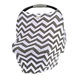 Itzy Ritzy 4-in-1 Nursing Cover, Car Seat Cover, Shopping Cart Cover and Infinity Scarf Breathable, Multi-Use Mom Boss Breastfeeding Cover, Car Seat Canopy, Cart Cover and Scarf, Gray Chevron