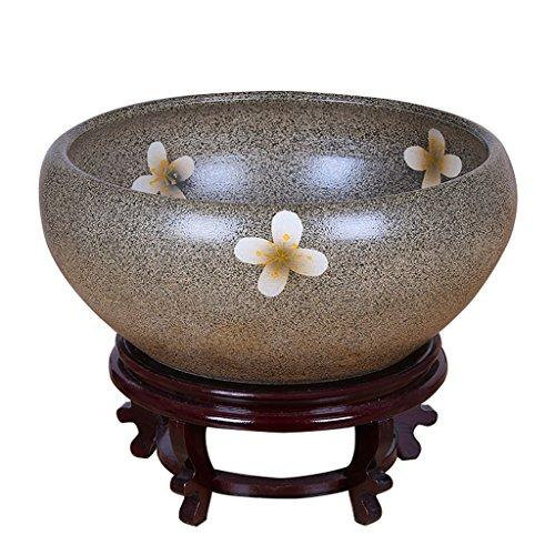 BOBE SHOP Pots de fleurs en céramique intérieure chinoise sans trous Plantes hydroponiques Pots avec plateau Réservoir de poissons Décoration de maison Porcelaine Jardinière ( Couleur : #1 , taille : 41cm )