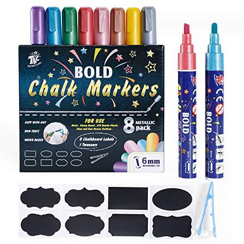 TBC The Best Crafts Rotulador de tiza, 8 colores metálicos, rotuladores de tiza líquida de doble punta para pintar y dibujar
