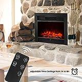 IKAYAA Wandkamin mit Thermostat & Timer,Touch & Fernbedienung,Niedrige/Hohe Heizstufe,Einstellbare Helligkeit,Gehärtetes Glas,LED Realistische Flamme Effekt (900W/1800W,73 x 54 x 15cm) - 4
