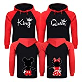 King and Queen Hoodies, Couples Christmas Sweaters, King and Queen Matching Hoodies for Couples - Black - Apple Red Men Medium - Women Large
