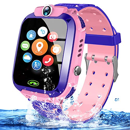 Kids Waterproof Smart Watch Phone Girls Boys Smartwatch with LBS Tracker Two Way Call SOS Micro Chat Camera Anti-Lost Math Game Touch Screen Games Alarm Clock Gizmo Watch Birthday Gifts (IP67 Pink)