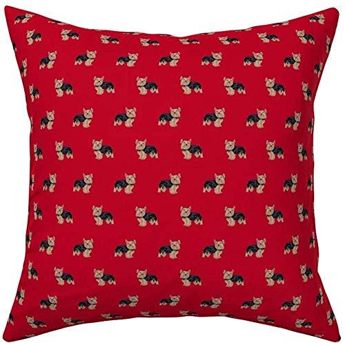 sherry-shop Funda de Almohada, Yorkie Fabric Yorkshire Terrier Dog Fabrics-redSquare, Cómodo, Anti-Shrinkage, Multicolor, Sofá, Decoración