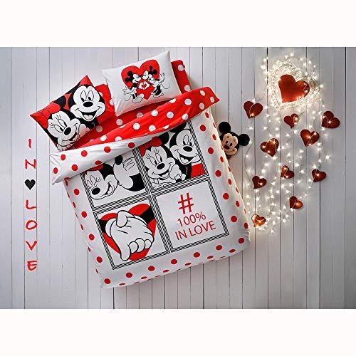 TAC Disney Mickey Minnie Dotty Love%100 - Juego de ropa de cama de algodón con licencia de producto de la funda de edredón y funda de almohada