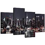 Images sur toile de gratte-ciel de New York pour votre salon, 4panneaux de paysage urbain