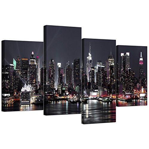 Wallfillers Canvas Foto's van New York Skyline voor uw woonkamer - NYC Cityscape Prints - Moderne Split Set van 4 City Canvases - Multi Panel - XL - 130cm Breed