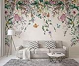 Papel Pintado Pared 3D Fotomurales Flor De Vid Acuarela Fresca Murales 3D Papel Tapiz Decorativos Wallpaper,350cmX256cm