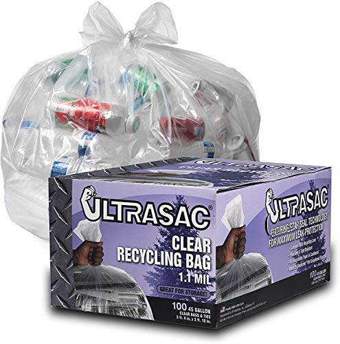 Heavy Duty 45 Gallon Garbage Bags (Huge 100 Pack w/Ties) - 46' x 40' - Industrial Quality Clear Trash Bags for Paper, Plastic, Cans, Bottles, Newspaper, Grass, Lawn