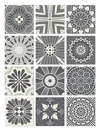 Panorama Azulejos Adhesivos Cocina Baño Pack de 48 Baldosas de de 15x15cm Hidráulico Gris - Vinilos Cocina Azulejos - Revestimiento de Paredes - Cenefas Azulejos Adhesivas