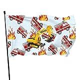 Cy-ril Bandera del poliéster del pie de la Brisa de la Mosca del camión de Bomberos de la Historieta 3X5, Bandera Durable Resistente del jardín de la decoloración