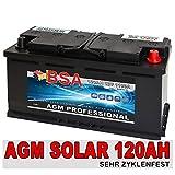 Solarbatterie 120Ah 12V Wohnmobilbatterie Versorgungsbatterie AGM GEL Batterie 100AH
