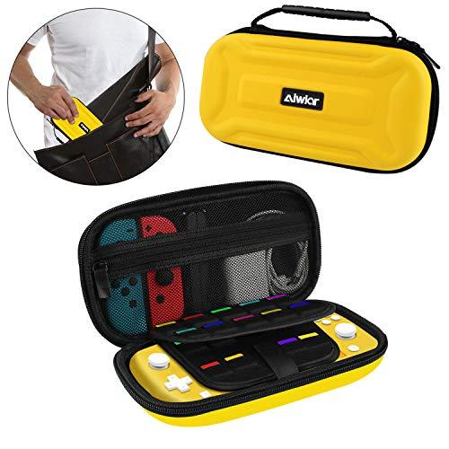 Tragetasche für Nintendo Switch Lite, Hartschalenhülle mit 18 Spielen, 4 SD-Karten und Tasche für Nintendo Switch Joy-con und anderes Zubehör (Gelb) 9.44*4.7*2.16inch gelb