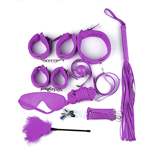 BSDM Lingere Women, Böñdäge Kit Sëx Töyš for Couples Set B`SD`M Kits for Couples Adjustable Rëšträiñt Set Häñdçüffs Bäll Gäg Couples Sëx Töyš Purple 10pcs