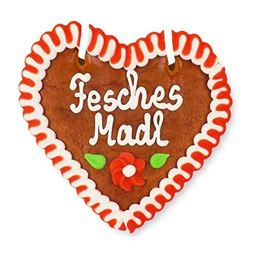 Lebkuchenherz 12cm - Fesches Madl - Geschenk für Frauen im Oktoberfest-Stil