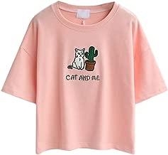 PERSUN Women's Cute Short Sleeve T-Shirts Loose Summer Crop Top