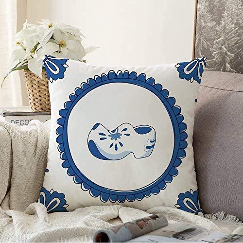 Fundas Decorativas para Cojines Funda de cojín Elemento Azul de Delft 10 Azulejos Par de Adornos Antiguos Zuecos Blancos Decoración Vintage variada típica Funda de Almohada para sofá