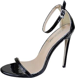 d8d79a211b65e1 DOLDOA Sandales Bout Ouvert Talon Chaussures à Talons Femme Rouge Escarpins  Femme Talon Noir Chaussure Mariage