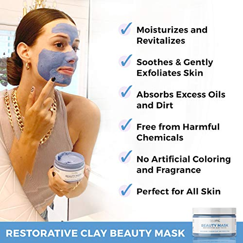 Teami Beauty Facial Mask - Moisturizing Face Mask Skin Care - Anti Acne & Blackhead Remover with Butterfly Pea Flower & Kaolin Clay - Deep Cleansing Face Mask for Oily, Dry, or Sensitive Skin