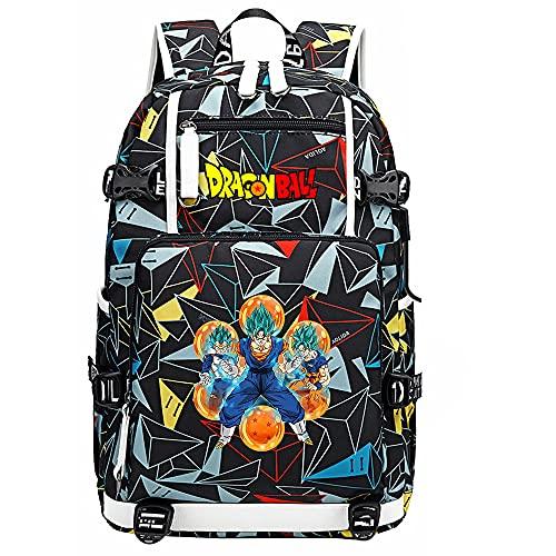 ZZGOO-LL Dragon Ball Son Goku/Vegeta IV/Torankusu Anime Backpacks Student School Bag Laptop Backpack with USB Charging Port-A